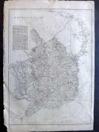 Weekly Dispatch C1860 Antique Map. Monmouthshire and The River Wye, Wales